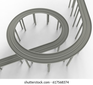 3D illustration of a road loop architecture