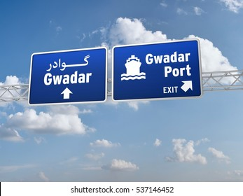 3D Illustration of Road Sign for City of Gwadar Pakistan and the port for Chinaâ??Pakistan Economic Corridor