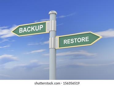 3d illustration of roadsign of words backup and restore.