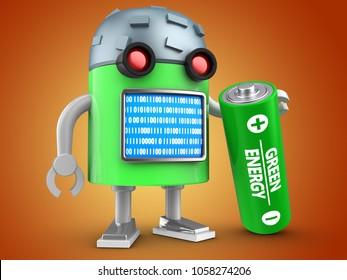 3d illustration of robot with battery over orange background