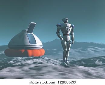 3D illustration of a robot exploring a planet