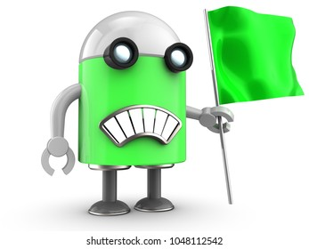 3d illustration of robot with green flag over white background