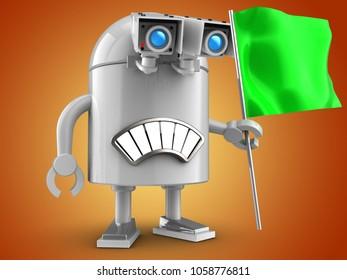 3d illustration of robot with green flag over orange background