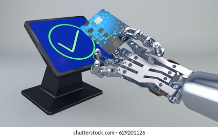 3D illustration of a robot hand paying with NFC technology at a tap and pay terminal with a credit card. Credit card, terminal and payment graphics are fictitious