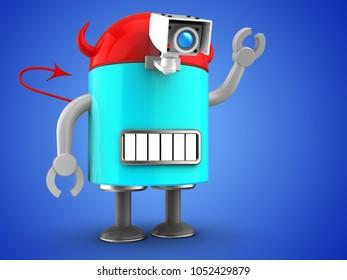 3d illustration of robot  over blue background