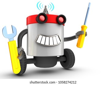 3d illustration of robot with with repair tools over white background