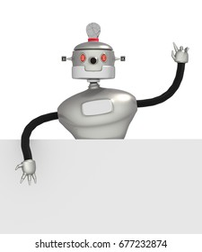3d illustration of robot and white empty plate