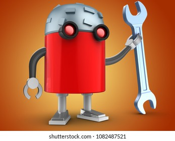 3d illustration of robot with wrench over orange background
