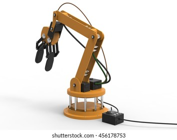 3d illustration of robotic arm. white background isolated. rube and steel. icon for game web. mechanism robot. bomb disarmament and disposal. automotive assembly lines