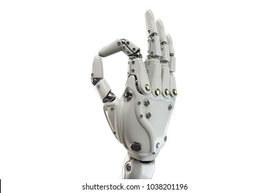 3D illustration of the robotic hand showing Ok on the white background