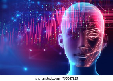 3d illustration of robotic human head with graphic element face represent artificial intelligence and machine learning concept