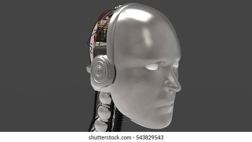 3D Illustration Of A Robotic Humanoid Head On A Dark Transparent Masked Background