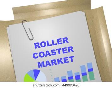 """3D illustration of """"ROLLER COASTER MARKET"""" title on business document"""