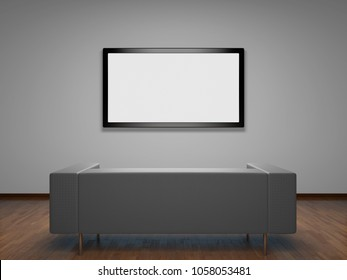 3D: illustration of room minimalist interior with television on wall and sofa