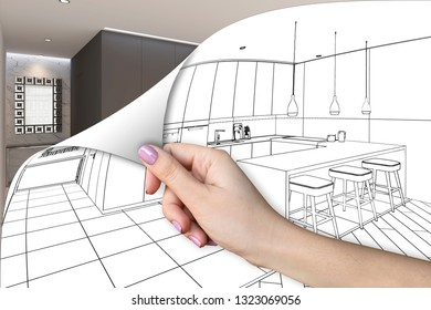 3d illustration. Room renovation concept