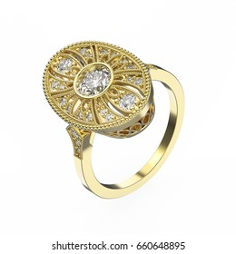 3D illustration rose gold ethnic ring with diamonds and ornament on a white background