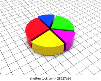 3d illustration of round diagram over grid