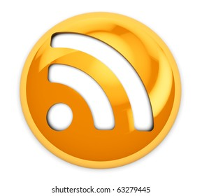 3d illustration of round orange rss icon or button, over white background