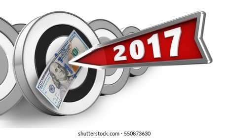 3d illustration of round target with 2017 year arrow and 100 dollars over white with targets background