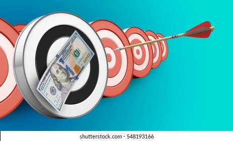 3d illustration of round target with arrow flight and 100 dollars over targets background