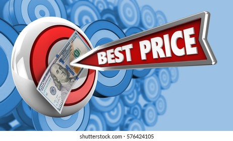 3d illustration of round target with best price arrow and 100 dollars over many targets background