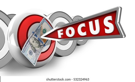 3d illustration of round target with focus arrow and 100 dollars over white with targets background