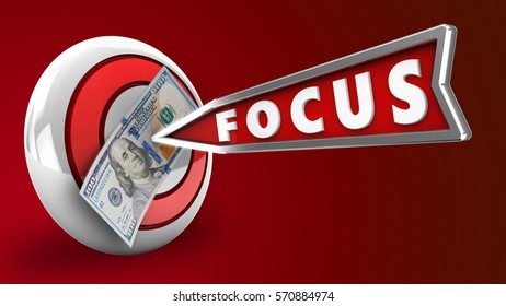 3d illustration of round target with focus arrow and 100 dollars over red background