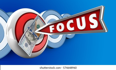 3d illustration of round target with focus arrow and 100 dollars over targets row background