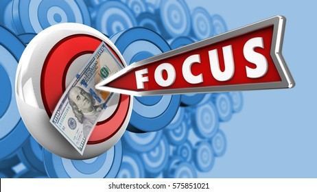 3d illustration of round target with focus arrow and 100 dollars over many targets background