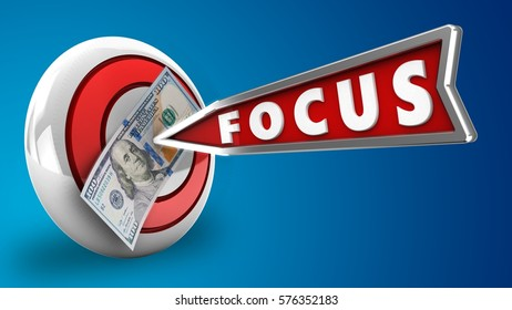 3d illustration of round target with focus arrow and 100 dollars over blue background