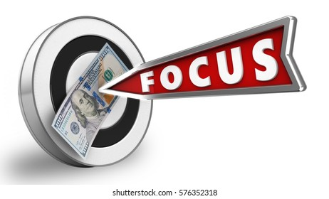 3d illustration of round target with focus arrow and 100 dollars over white background