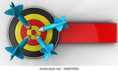 3d illustration of round target with four darts over white background