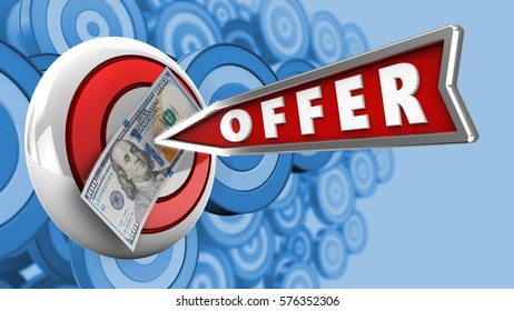 3d illustration of round target with offer arrow and 100 dollars over many targets background