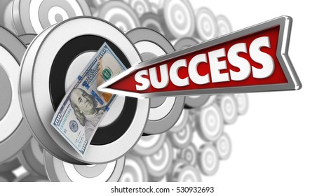 3d illustration of round target with success arrow and 100 dollars over many targets background