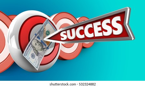 3d illustration of round target with success arrow and 100 dollars over targets background