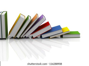 3d illustration of row of books on white reflective background