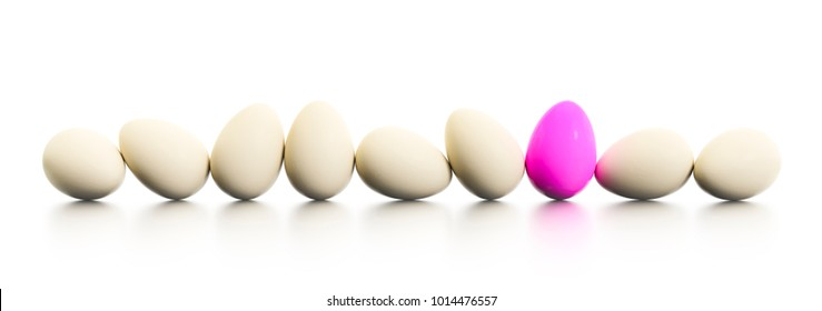 3d illustration of a row of easter eggs one dyed in pink