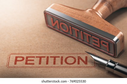 3D illustration of rubber stamp over paper background with the word petition