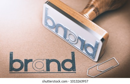 3D illustration of a rubber stamp with the word brand on a brown paper