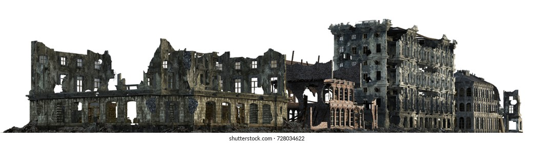 3D illustration ruined building isolated on white.