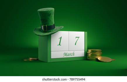 3D Illustration. Saint Patrick's Day. Calendar.