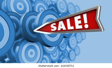 3d illustration of sale arrow with blank over many targets background