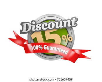 3d Illustration of Sale fifteen percent off isolated white