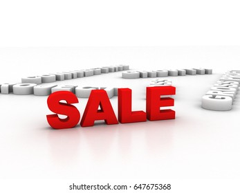 3d illustration Sales in text