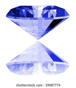 A 3d illustration of a sapphire gem isolated on a white background.