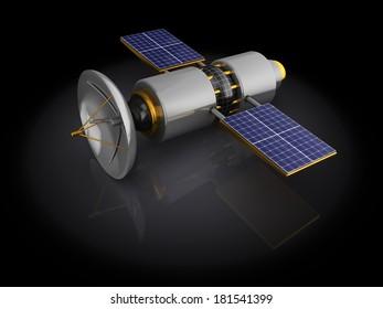 3d illustration of satellite model over black background