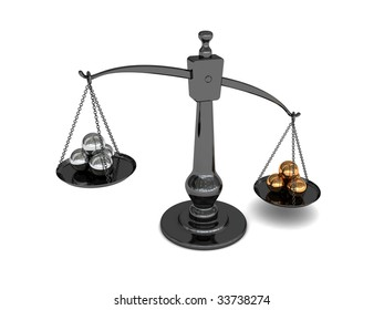 3d illustration of scale with golden and silver balls