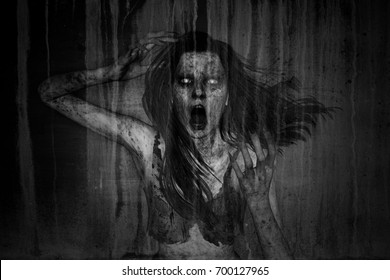 3d illustration of scary ghost woman in the dark,Horror background,mixed media