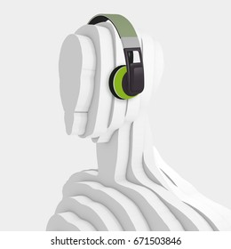 3D illustration, Sculpture - humanoid head with headphones on white background