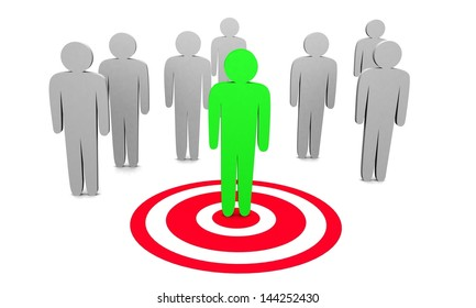3d illustration of searching and targeting buyer.